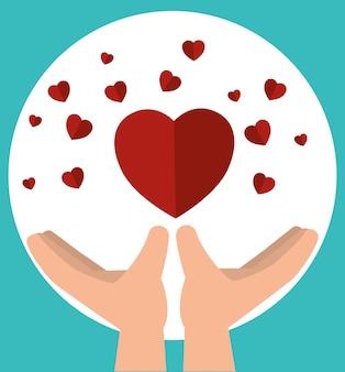 Manos con corazones para donaciones de caridad