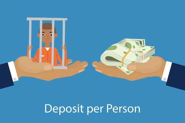 Manos dando u ofreciendo un paquete de dinero a otra mano con la ilustración de dibujos animados de persona encarcelada de depósito por persona.