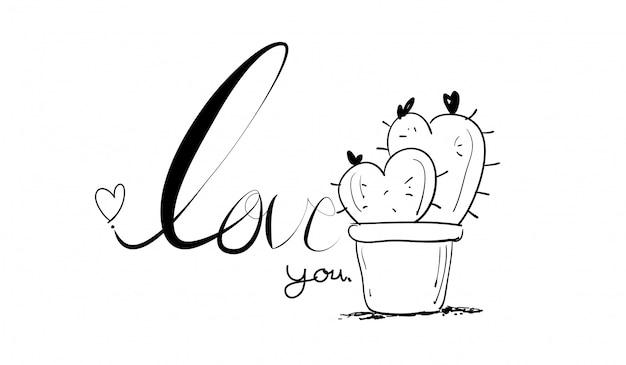 Manos dibujadas creativas hechas texto amor y cactus.