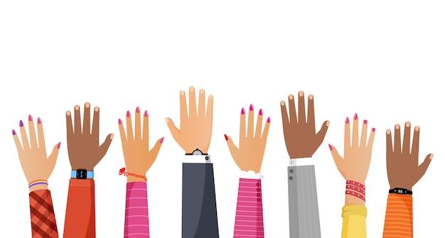 Manos de diferente color de piel y diversas razas personas elevándose ilustración plana.