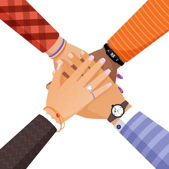 Manos de diferentes personas de color de piel que juntan ilustración vectorial. trabajo en equipo, unidad, unidad concepto plano.
