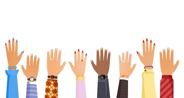 Manos de diferentes personas elevándose ilustración. concepto de trabajo en equipo, elección, votación o educación.