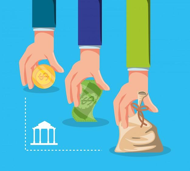 Manos con dinero con el edificio del banco