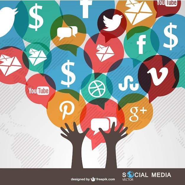 Manos e iconos de redes sociales