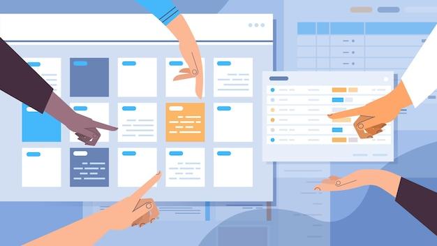 Manos de empresarios planificar la cita del día de planificación en la agenda de la aplicación de calendario en línea plan de reuniones concepto de gestión del tiempo ilustración vectorial horizontal