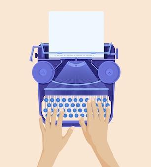 Manos escribiendo en máquina de escribir retro. impresión de papel blanco en la información de máquina de cinta antigua.