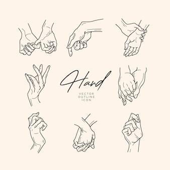 Manos de estilo dibujado a mano. ilustraciones de concepto de moda, cuidado de la piel y amor.