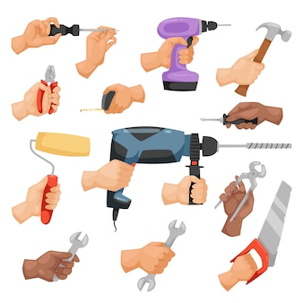 Manos con estilo de dibujos animados de herramientas de construcción