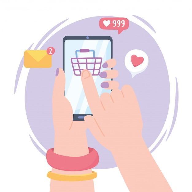 Manos femeninas con compras en línea de teléfonos inteligentes, sistema de comunicación de redes sociales y tecnologías
