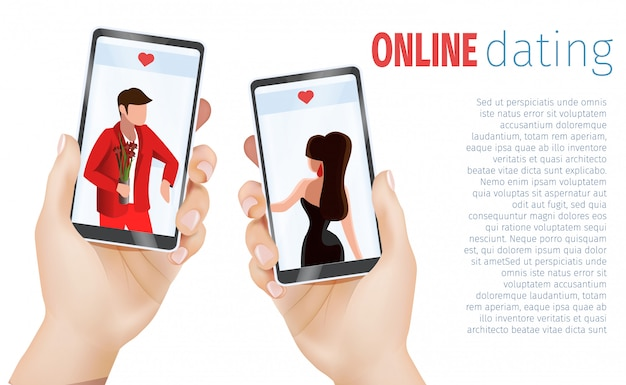 Manos femeninas masculinas que sostienen la aplicación de citas de teléfonos móviles