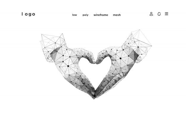 Manos de forma corazón. resumen sobre fondo blanco. estructura metálica de baja poli. gesto de manos. símbolo de amor líneas y puntos del plexo en la constelación. las partículas están conectadas en una forma geométrica.