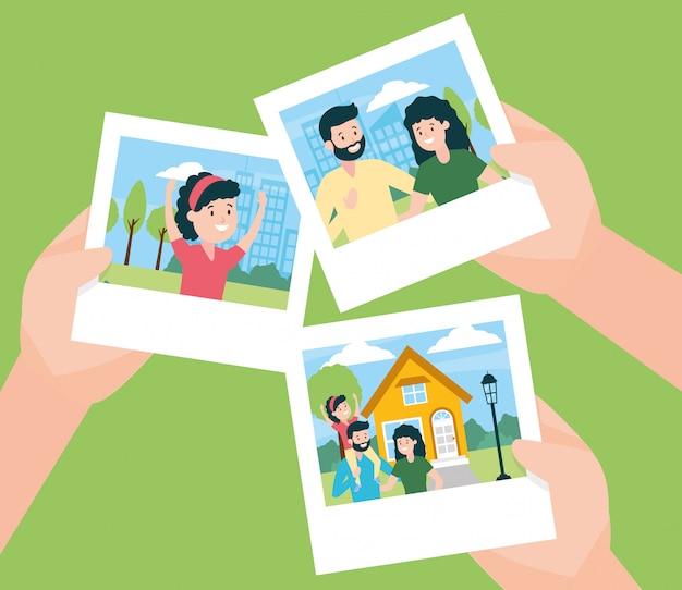 Manos con fotos en el día de la familia