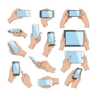 Manos con gadgets mano teléfono o tableta y personaje trabajando en la ilustración del teléfono inteligente