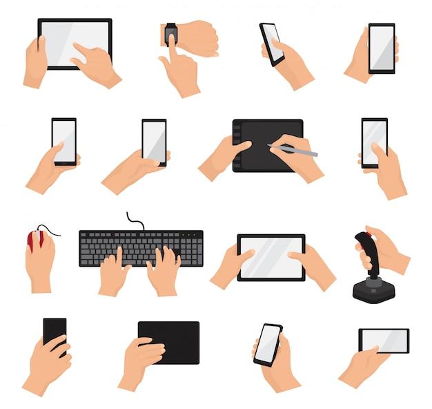 Manos con gadgets vector mano sosteniendo teléfono o tableta ilustración conjunto de caracteres trabajando en dispositivo digital con pantalla táctil smartphone o teléfono celular aislado en blanco