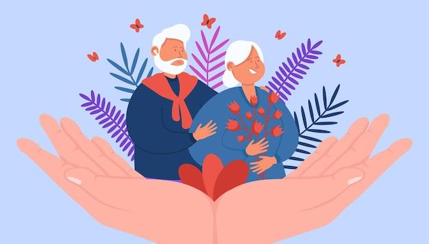 Manos gigantes apoyando a la feliz pareja adulta
