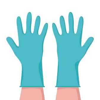 Manos con guantes protectores concepto