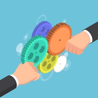 Manos de hombre de negocios isométricas 3d planas conectando engranajes juntos. concepto de negocio y trabajo en equipo.