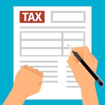 Manos de hombre rellenando formulario de impuestos