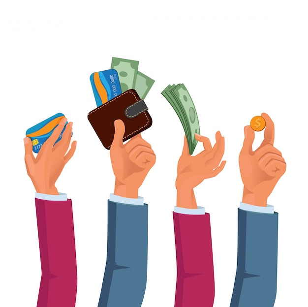 Manos de hombres y mujeres con dólares y monedas