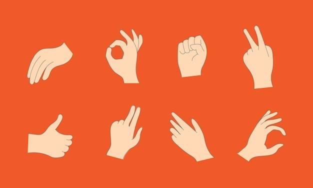 Manos humanas de dibujos animados mostrando los pulgares para arriba, señalando y saludando