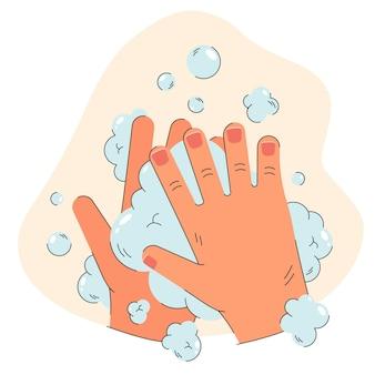 Manos humanas en espuma de jabón