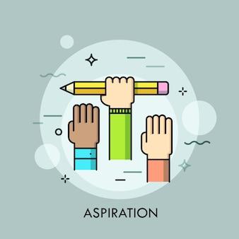 Manos humanas levantadas. concepto de aspiración, ambición de logro de objetivos, intención, esfuerzo.