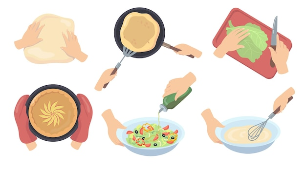 Manos humanas preparando comida plana set