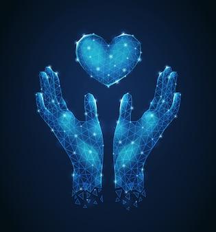 Manos humanas protegiendo corazón luminiscente poligonal estructura metálica futurista composición abstracta ilustración vectorial