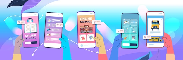 Manos humanas que usan la aplicación móvil digital educación a distancia escuela en línea e-learning concepto de distancia social pantallas de teléfonos inteligentes ilustración vectorial horizontal