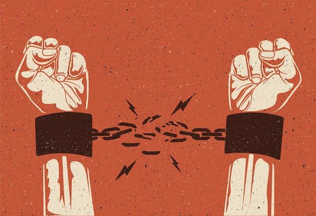 Las manos humanas rompen la cadena