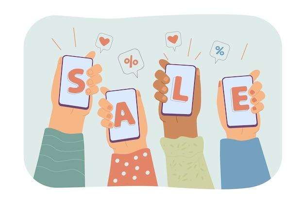 Manos humanas sosteniendo teléfonos inteligentes y mostrando venta ilustración plana aislada.