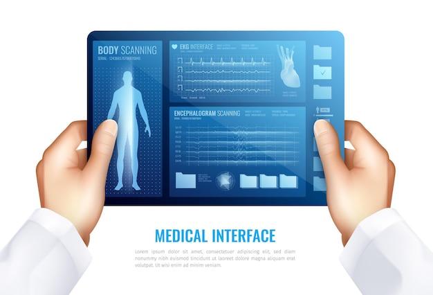 Manos humanas tocando en la pantalla de la tableta que muestra la interfaz médica con el concepto realista de elementos de hud