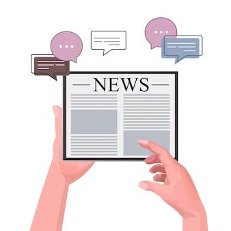 Manos humanas usando tablet pc leyendo noticias diarias periódico en línea prensa medios masivos chat burbuja comunicación concepto ilustración