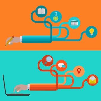 Manos con iconos para estudiar y conectar