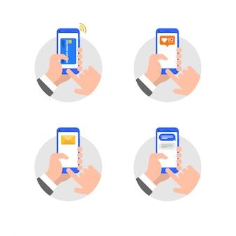 Manos con ilustración de estilo plano de teléfono inteligente
