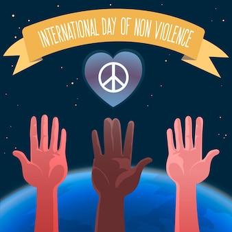Manos ilustradas con cinta del día internacional de la no violencia.