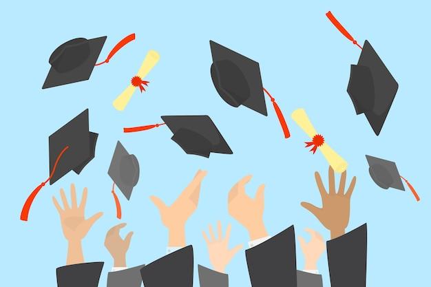 Manos lanzando birretes y diploma en el aire. celebración de graduación universitaria o escolar. ilustración