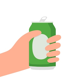Manos con una lata de cerveza