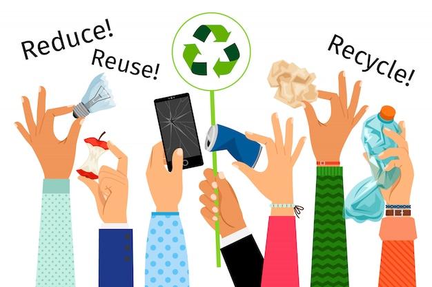 Manos levantadas con basura y signo de reciclaje.