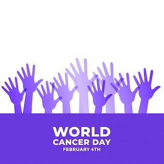 Manos levantadas para la conciencia del día mundial del cáncer