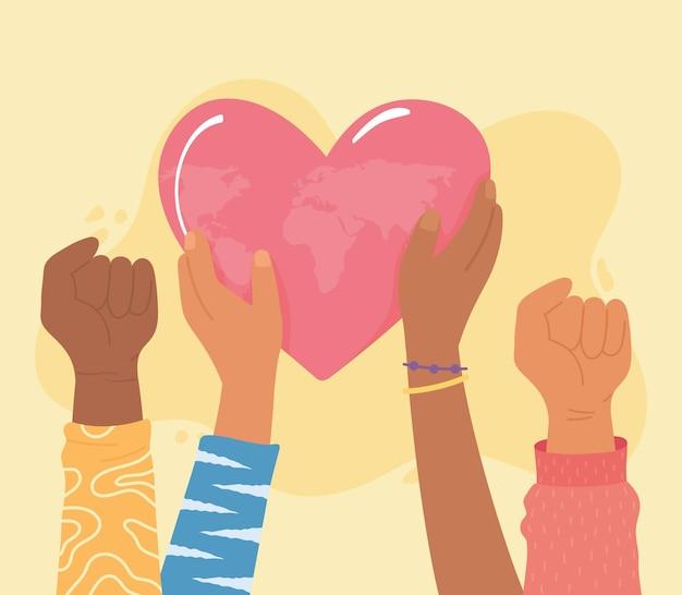 Manos levantadas con el mundo dentro del corazón