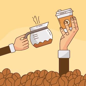 Manos levantando bebida de café en tetera y recipiente de plástico con ilustración de granos