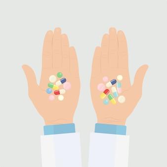 Manos del médico con pastillas, cápsulas, antibióticos. concepto de farmacia