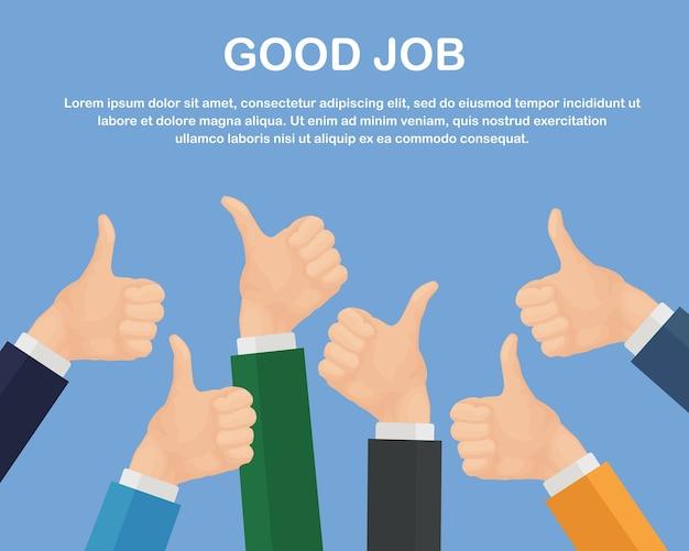Manos de muchos empresarios con los pulgares para arriba. retroalimentación positiva