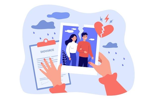 Manos de mujer atravesando la ilustración de ruptura y divorcio