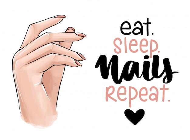 Manos de mujer hermosa con esmalte de uñas desnudo. letras escritas a mano sobre las uñas.