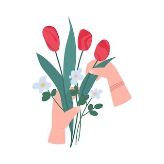 Manos de mujer sosteniendo flores de papel hechas a mano, ilustración vectorial de dibujos animados plana aislada sobre fondo blanco. taller de composición floral y afición florística.