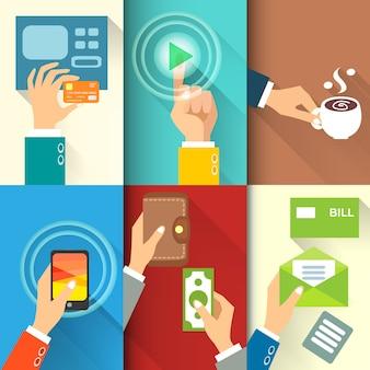 Manos de negocios en acción, pagar, comprar, transferir dinero.