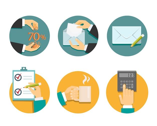 Manos de negocios con objetos de oficina ilustración vectorial sobre blanco
