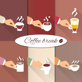 Manos de negocios que ofrecen bebidas calientes de café.